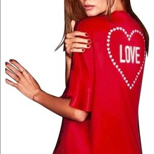 Victoria secret short red satin love kimono tunic